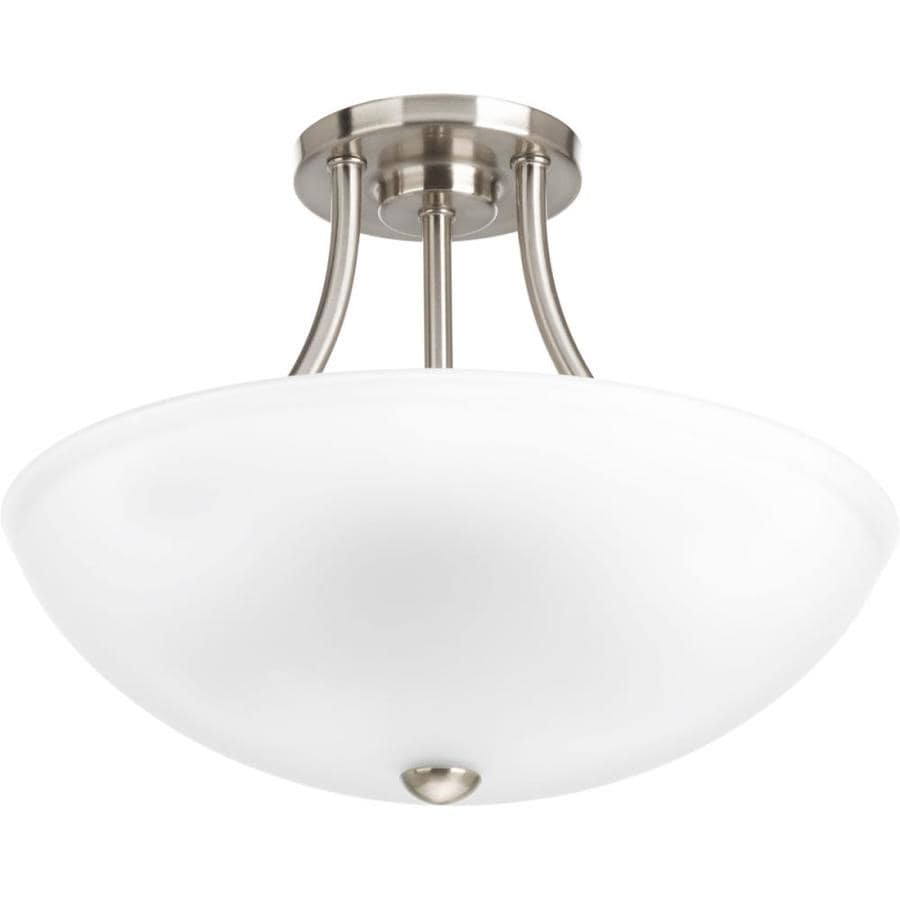 Progress Lighting Gather 12.5-in W Brushed Nickel Etched Glass Semi-Flush Mount Light