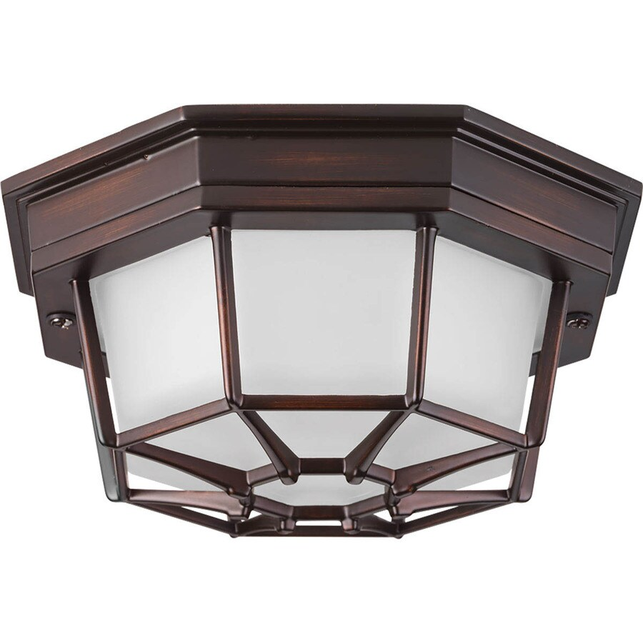 Progress Lighting Milford LED 8.625-in W Antique Bronze Outdoor Flush-Mount Light ENERGY STAR