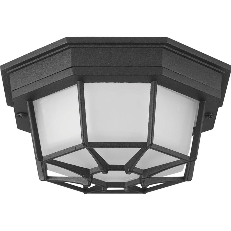 Progress Lighting Milford LED 8.625-in W Black Outdoor Flush-Mount Light ENERGY STAR