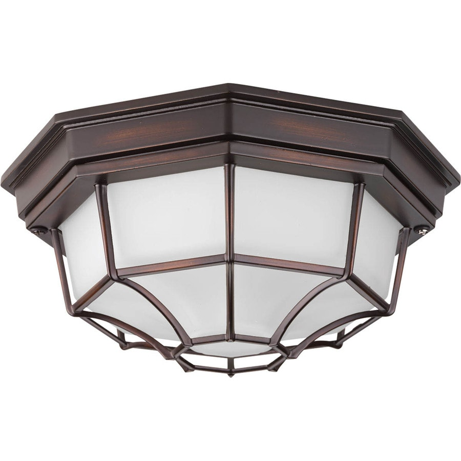 Progress Lighting Milford LED 10.625-in W Antique Bronze Outdoor Flush-Mount Light ENERGY STAR