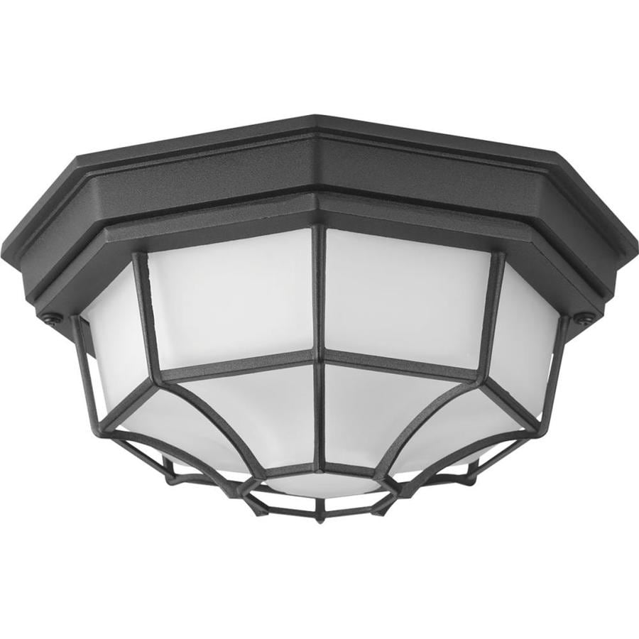 Progress Lighting Milford LED 10.625-in W Black Outdoor Flush-Mount Light ENERGY STAR
