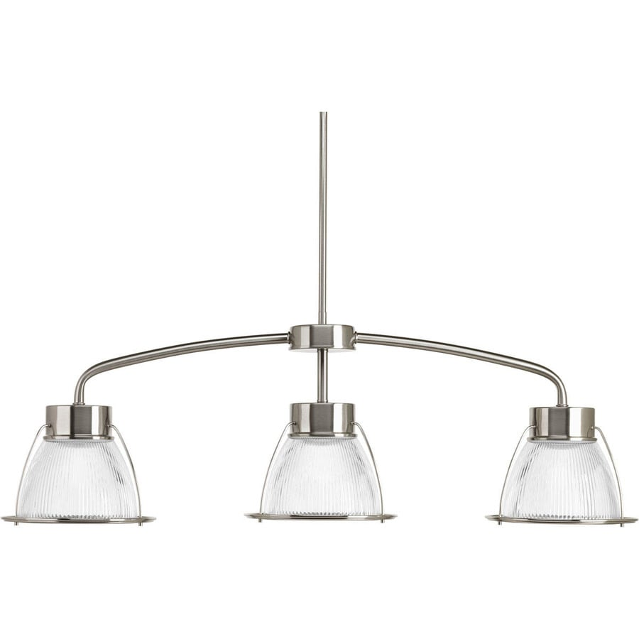Progress Lighting Prismatic Glass 9.125-in 3-Light Brushed Nickel Textured Glass Shaded Chandelier