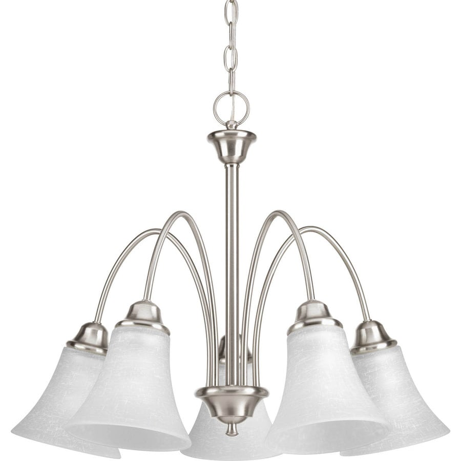 Progress Lighting Tally 25-in 5-Light Brushed Nickel Etched Glass Shaded Chandelier