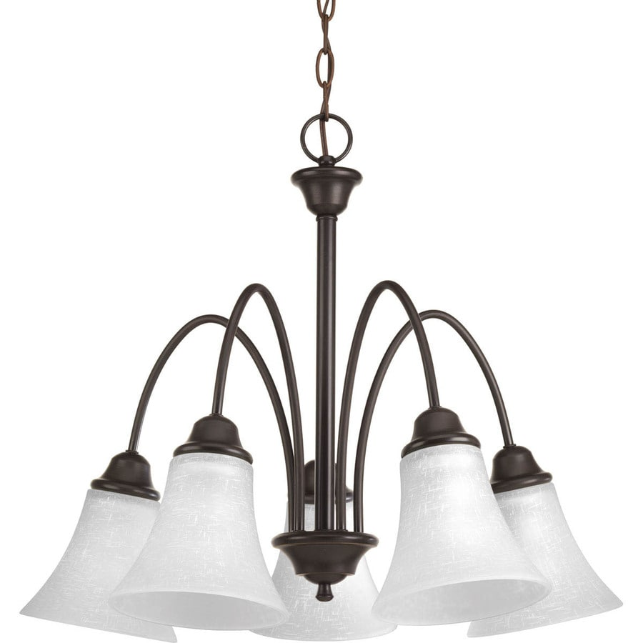 Progress Lighting Tally 25-in 5-Light Antique Bronze Etched Glass Shaded Chandelier