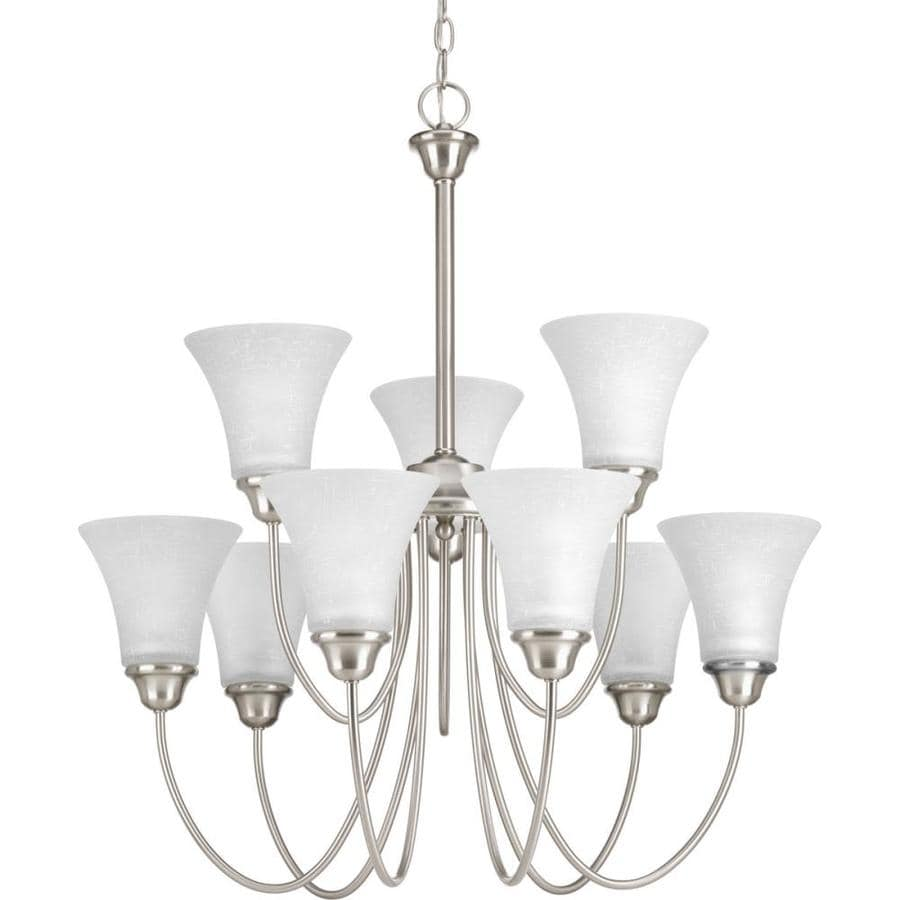 Progress Lighting Tally 30-in 9-Light Brushed nickel Etched Glass Shaded Chandelier
