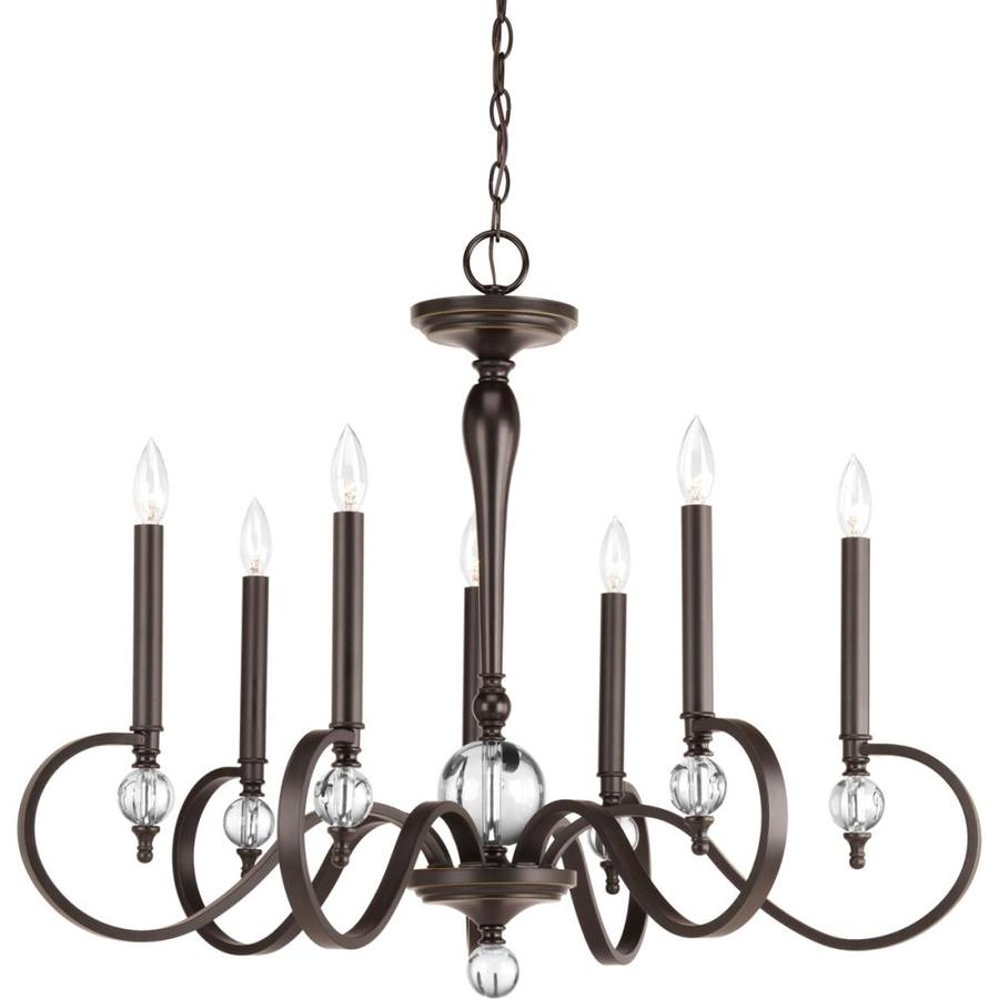 Progress Lighting Esteem 34-in 7-Light Antique Bronze Shaded Chandelier