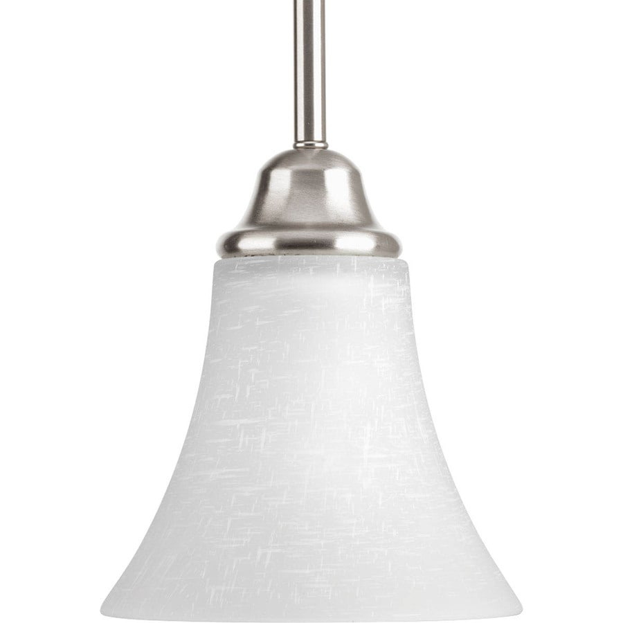 Progress Lighting Tally 6.25-in Brushed Nickel Mini Etched Glass Bell Pendant