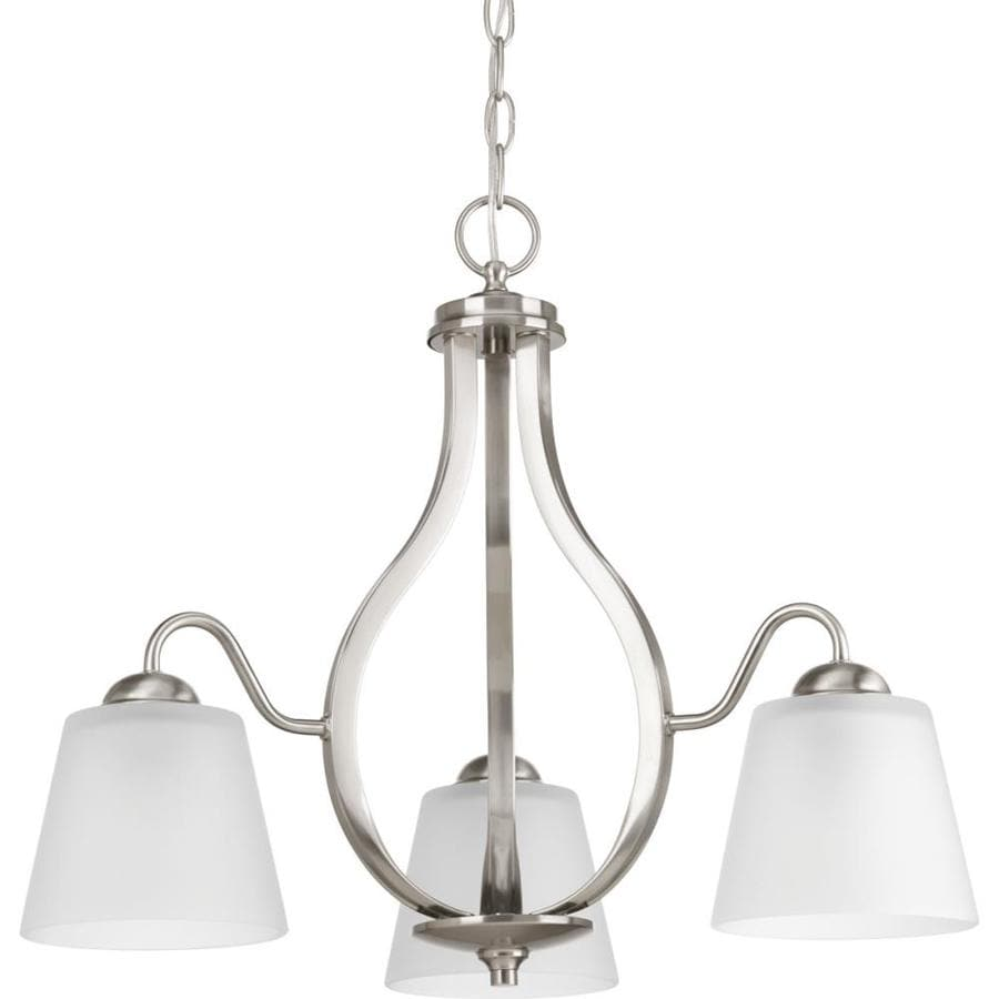 Progress Lighting Arden 22-in 3-Light Brushed Nickel Etched Glass Shaded Chandelier