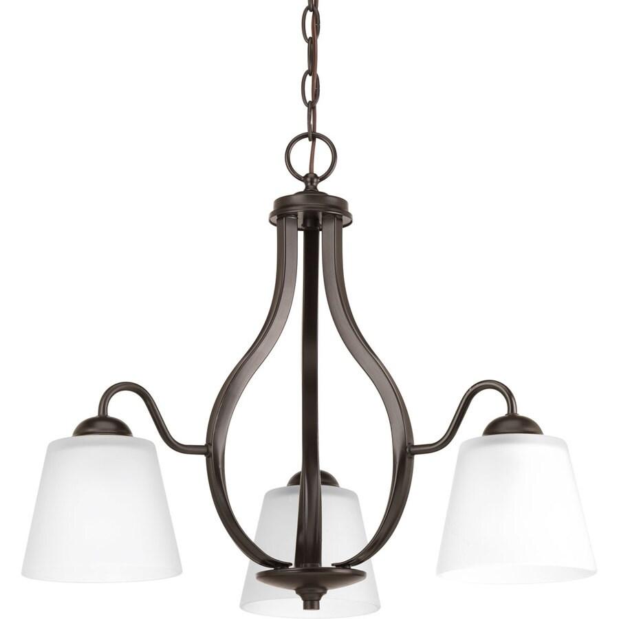 Progress Lighting Arden 22-in 3-Light Antique Bronze Etched Glass Shaded Chandelier