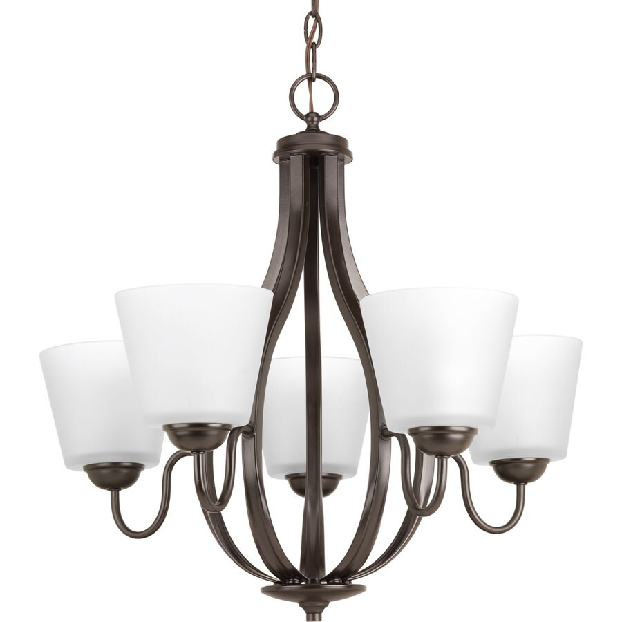 Progress Lighting Arden 24.625-in 5-Light Antique Bronze Etched Glass Shaded Chandelier