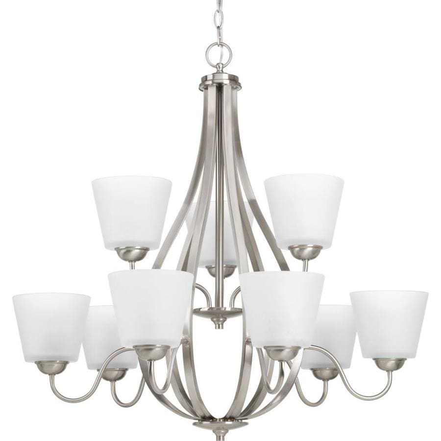 Progress Lighting Arden 30.5-in 9-Light Brushed Nickel Etched Glass Shaded Chandelier