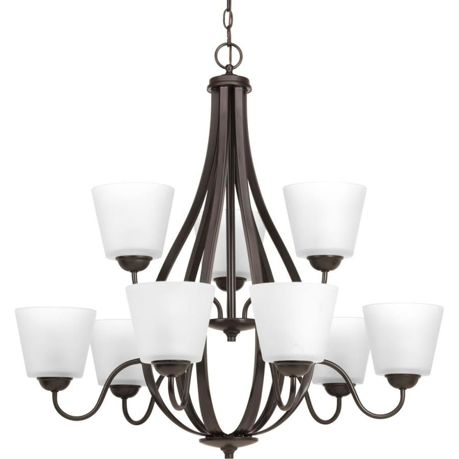 Progress Lighting Arden 30.5-in 9-Light Antique bronze Etched Glass Shaded Chandelier