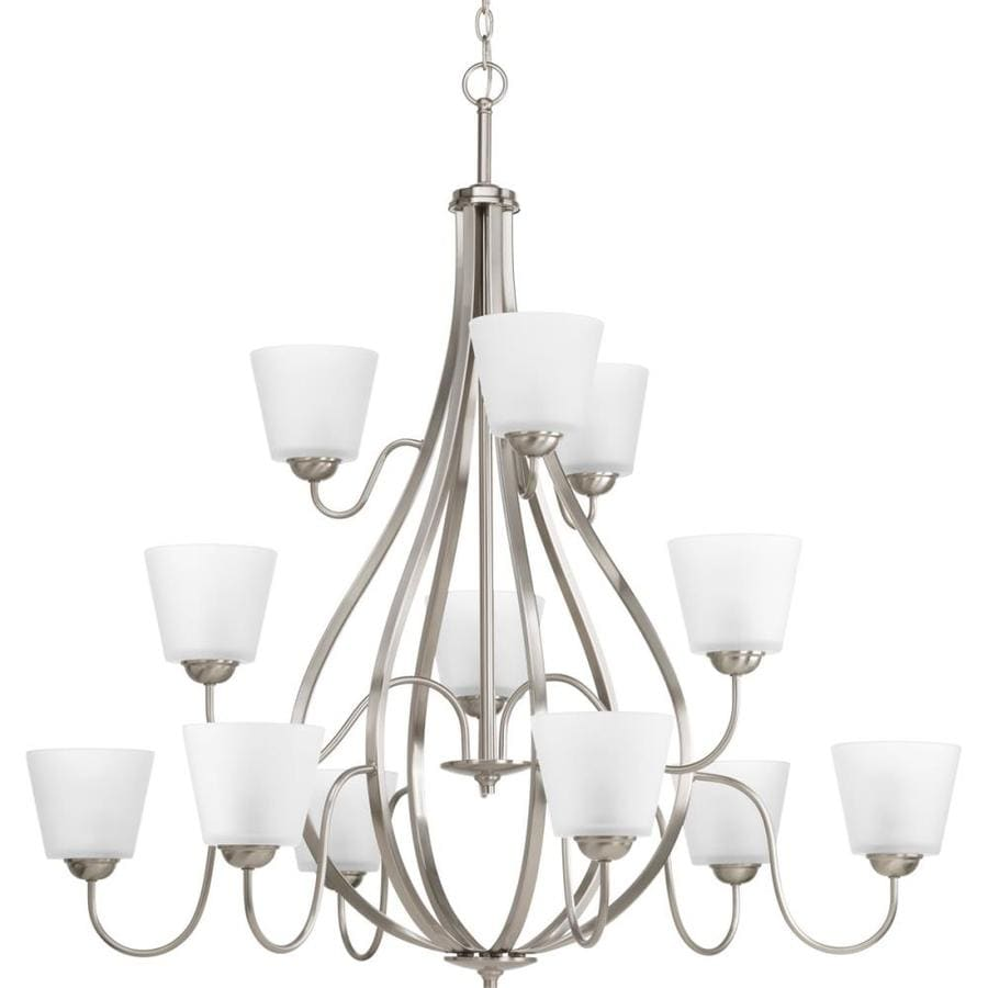 Progress Lighting Arden 42-in 12-Light Brushed Nickel Etched Glass Shaded Chandelier
