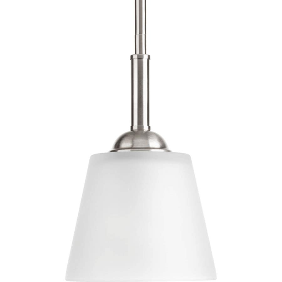 Progress Lighting Arden 5.875-in Brushed Nickel Mini Etched Glass Bell Pendant