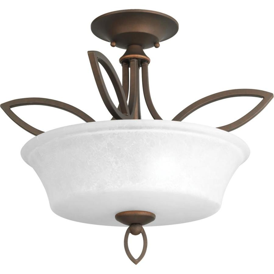 Progress Lighting Monogram 17-in W Roasted java Textured Semi-Flush Mount Light