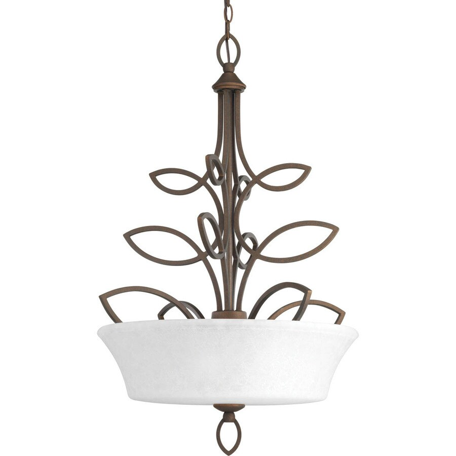 Progress Lighting Monogram 22.25-in 3-Light Roasted Java Mediterranean Clear Glass Shaded Chandelier