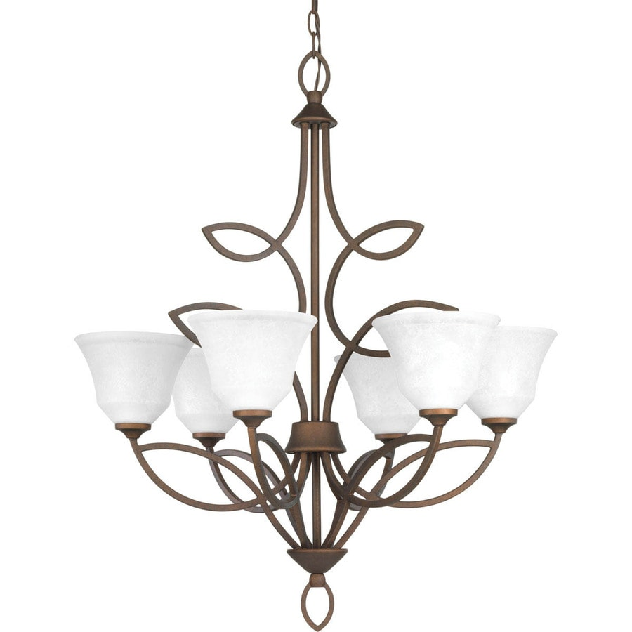 Progress Lighting Monogram 28-in 6-Light Roasted Java Mediterranean Etched Glass Shaded Chandelier