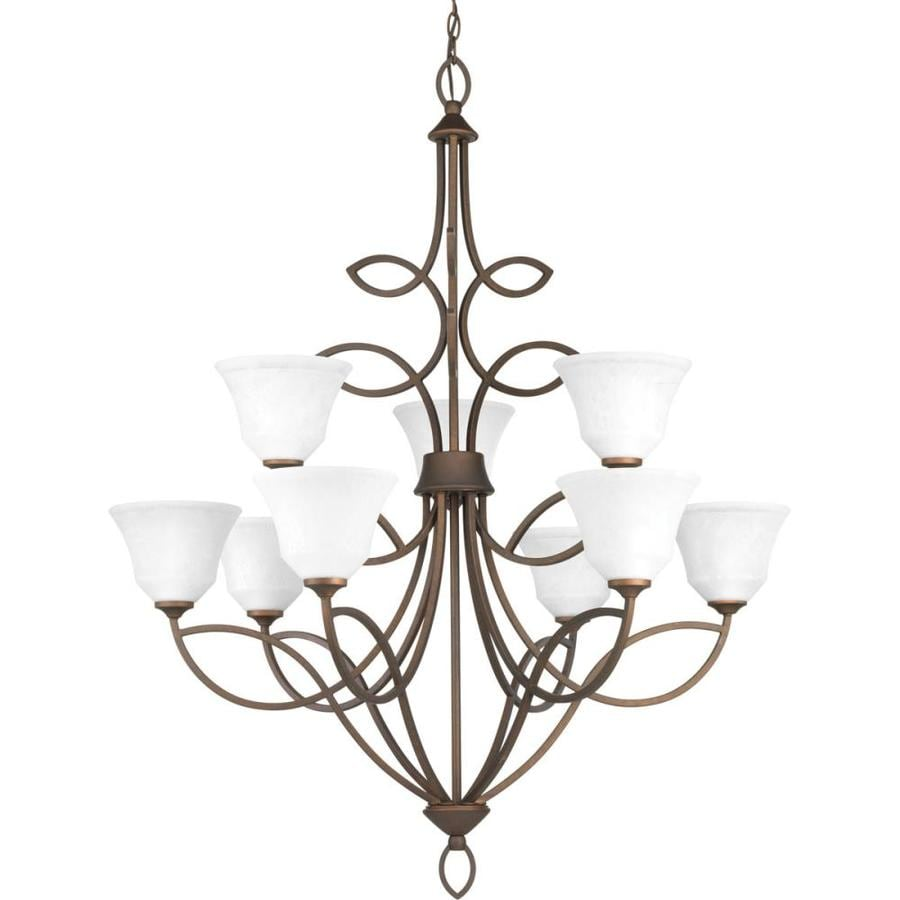Progress Lighting Monogram 36-in 9-Light Roasted java Mediterranean Etched Glass Shaded Chandelier