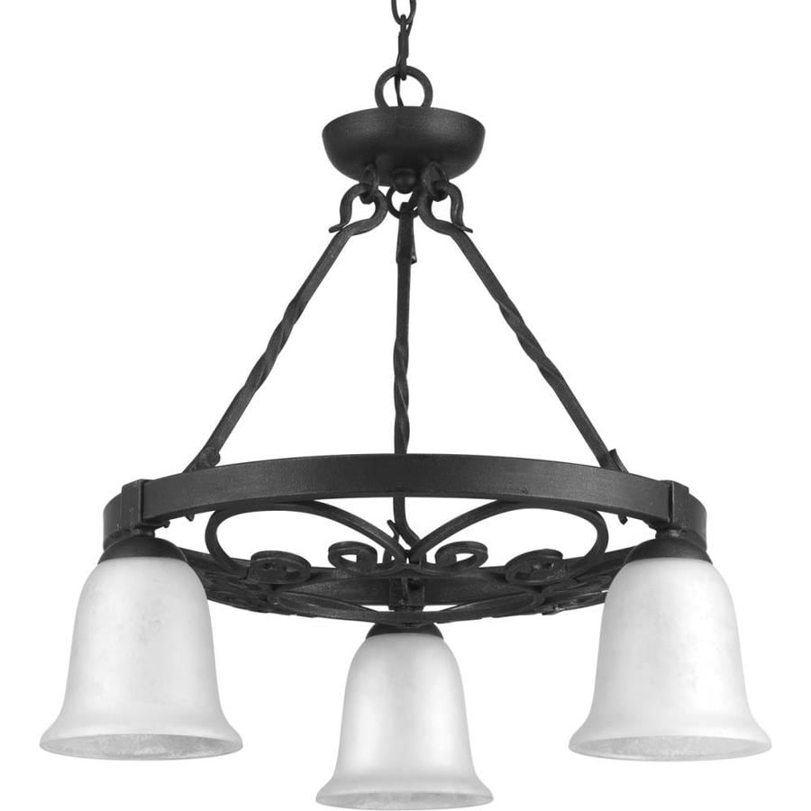 Progress Lighting Enclave 24-in 3-Light Gilded Iron Textured Glass Shaded Chandelier