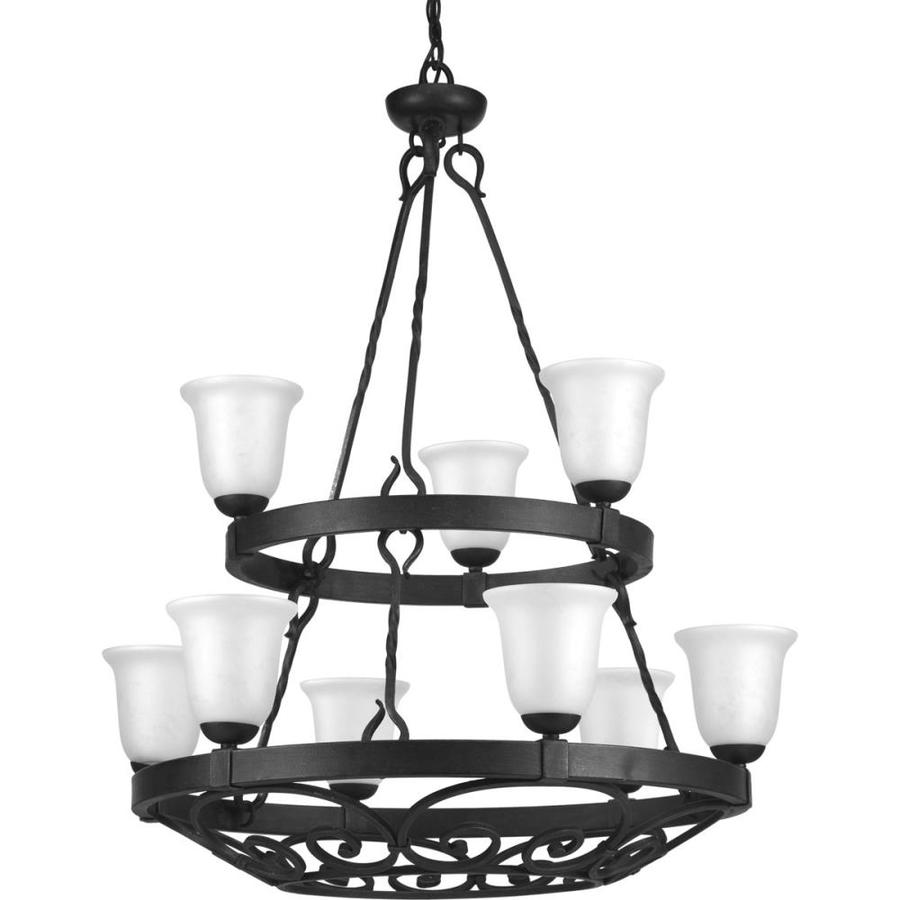 Progress Lighting Enclave 35-in 9-Light Gilded Iron Textured Glass Shaded Chandelier