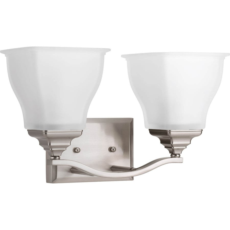 Shop Progress Lighting Callison 2-Light 9-in Brushed nickel Square Vanity Light at Lowes.com