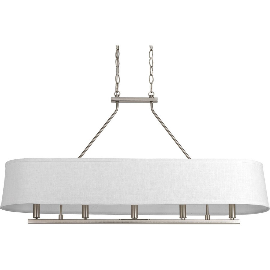 Progress Lighting Cherish 40-in 5-Light Brushed Nickel Shaded Chandelier