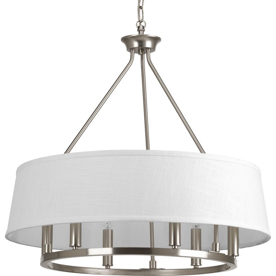 Progress Lighting Cherish 24-in 6-Light Brushed nickel Shaded Chandelier