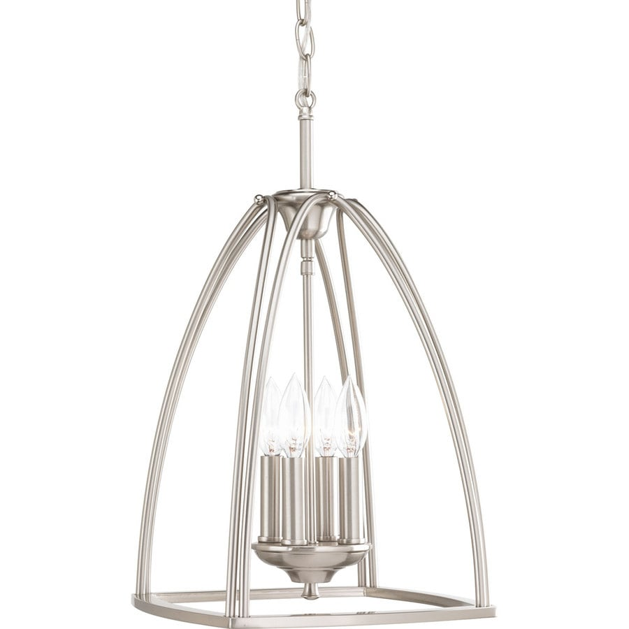 Progress Lighting Tally 11.875-in 4-Light Brushed Nickel Etched Glass Shaded Chandelier