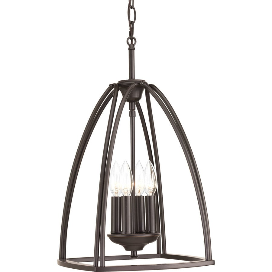 Progress Lighting Tally 11.875-in 4-Light Antique Bronze Etched Glass Shaded Chandelier