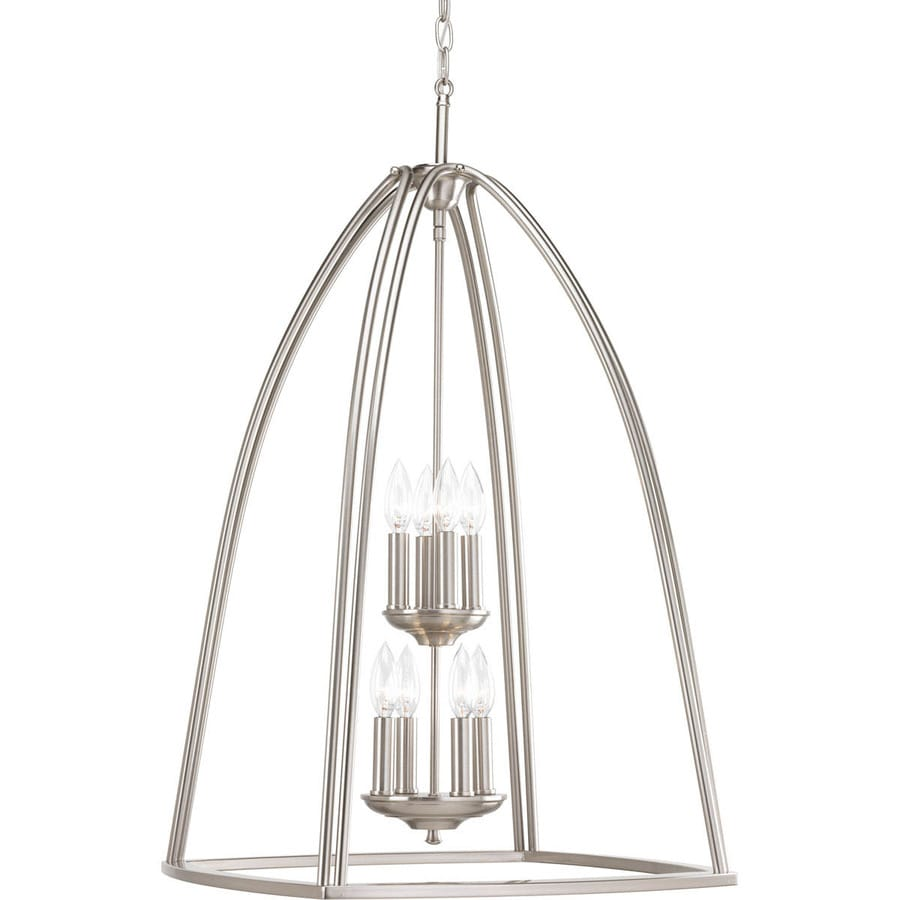Progress Lighting Tally 20.25-in 8-Light Brushed Nickel Etched Glass Tiered Chandelier