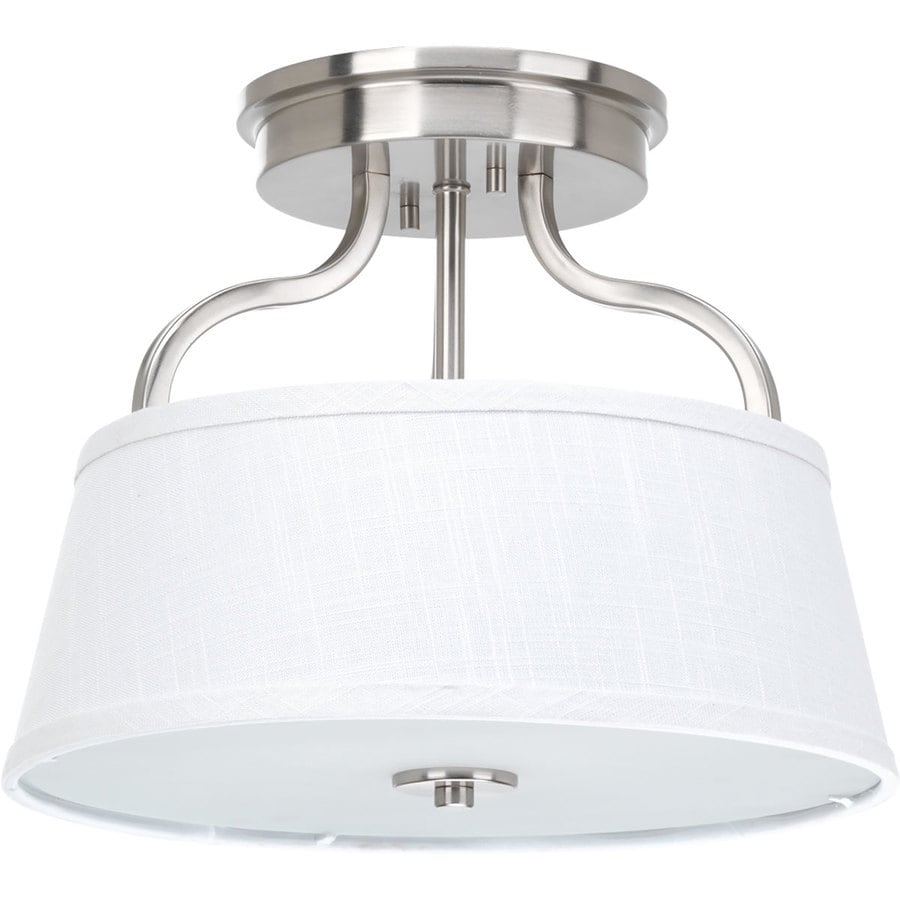 Progress Lighting Arden 14-in W Brushed Nickel Fabric Semi-Flush Mount Light