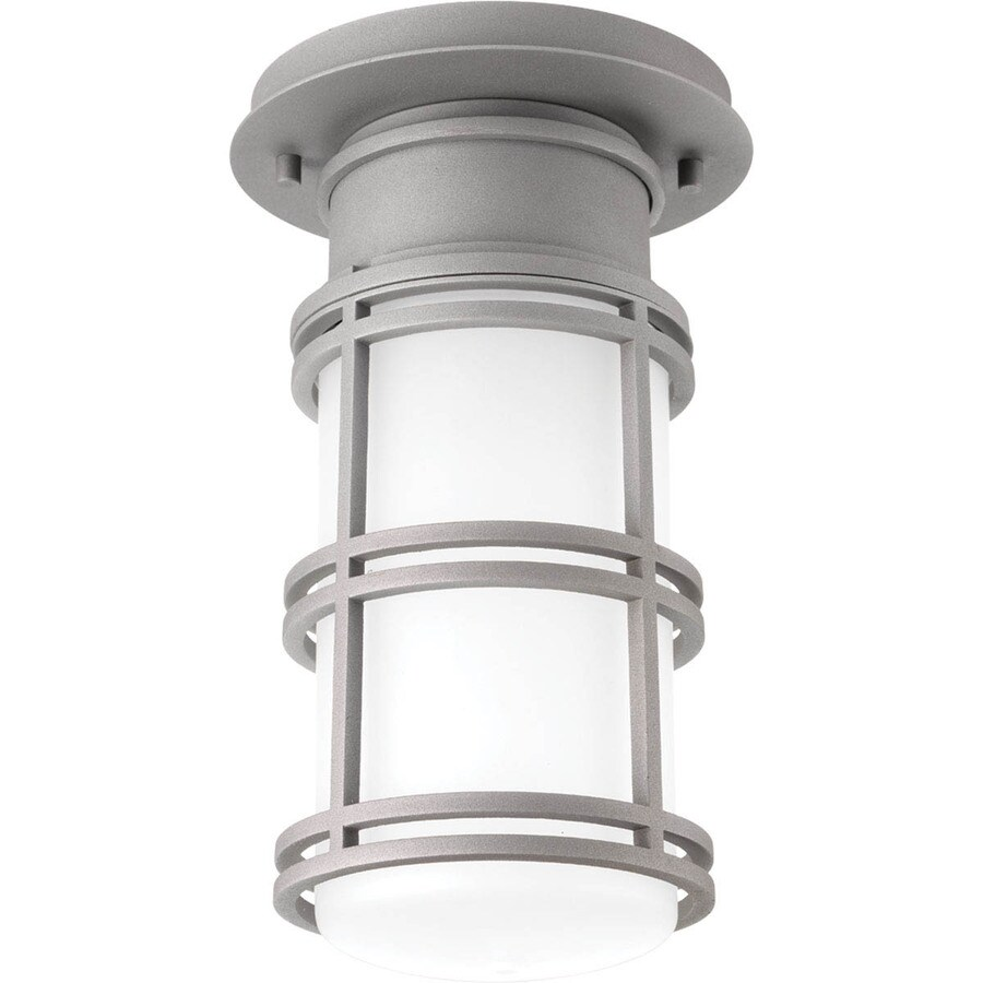 Progress Lighting Bell 6.625-in W Textured Graphite Outdoor Flush-Mount Light ENERGY STAR