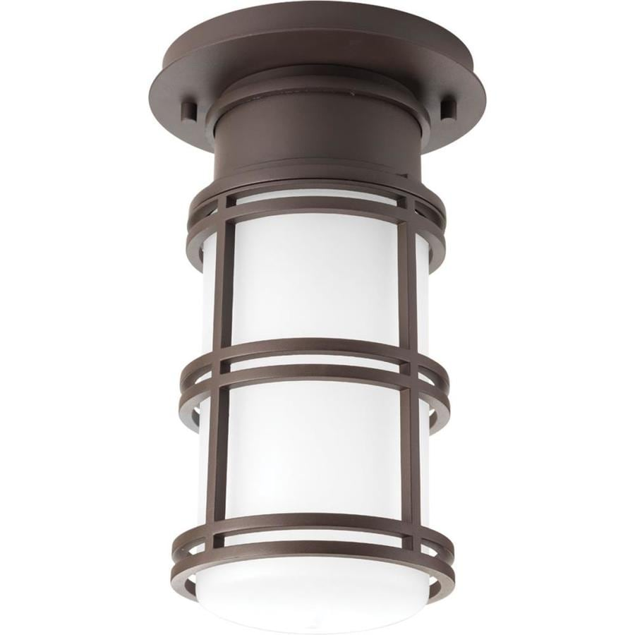 Progress Lighting Bell 6.625-in W Antique Bronze Outdoor Flush-Mount Light ENERGY STAR