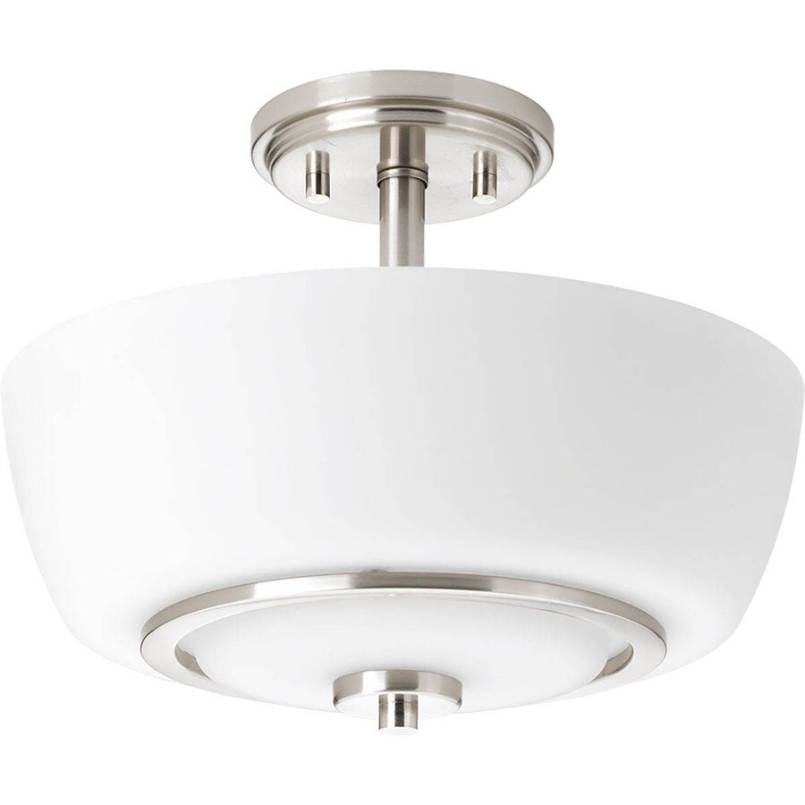 Progress Lighting Fleet 13-in W Brushed Nickel Etched Glass Semi-Flush Mount Light