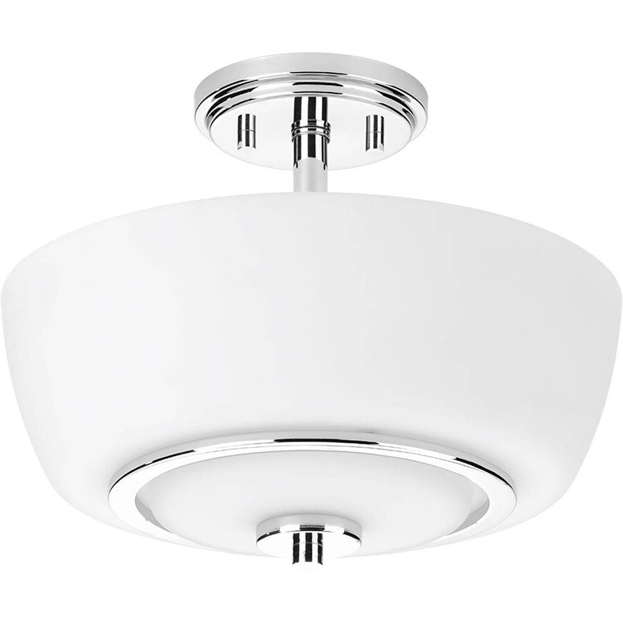 Progress Lighting Fleet 13-in W Polished Chrome Etched Glass Semi-Flush Mount Light
