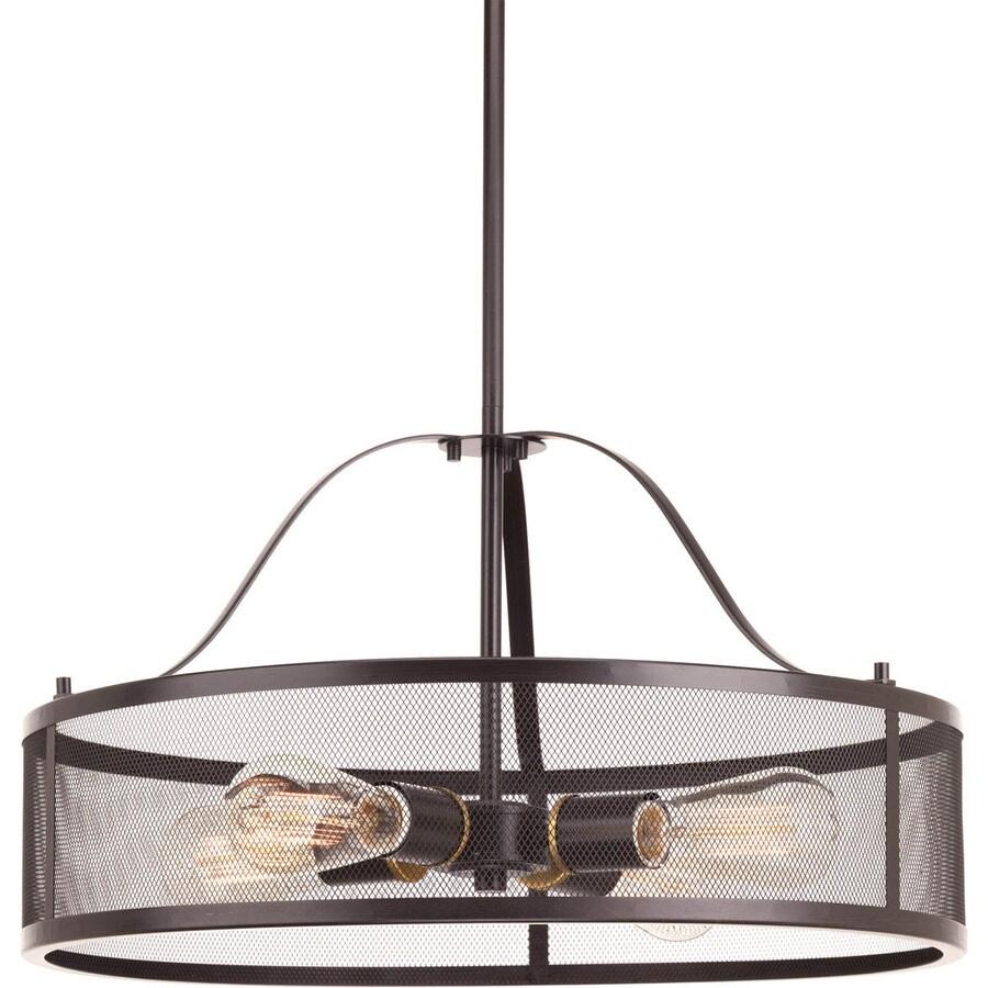 Progress Lighting Swing 20-in 4-Light Antique Bronze Industrial Shaded Chandelier