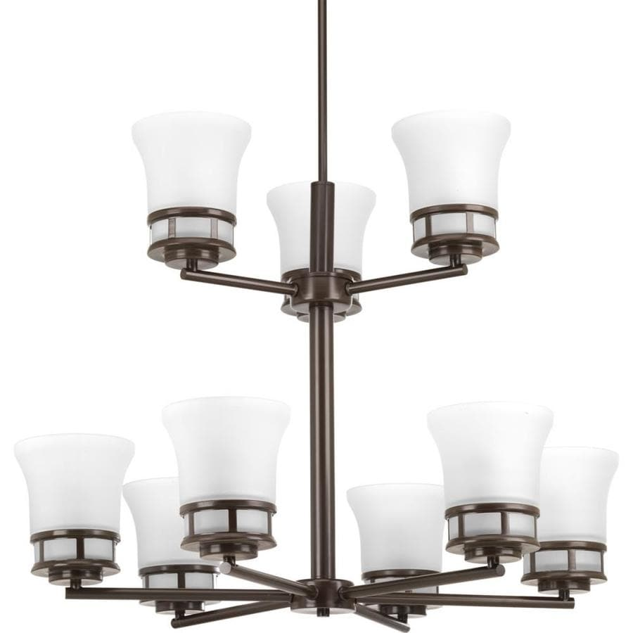 Progress Lighting Cascadia 30-in 9-Light Antique Bronze Etched Glass Shaded Chandelier