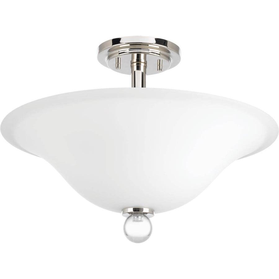 Progress Lighting Elina 18-in W Polished Nickel Opalescent Glass Semi-Flush Mount Light