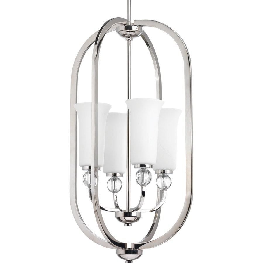 Progress Lighting Elina 16-in 4-Light Polished Nickel Etched Glass Shaded Chandelier