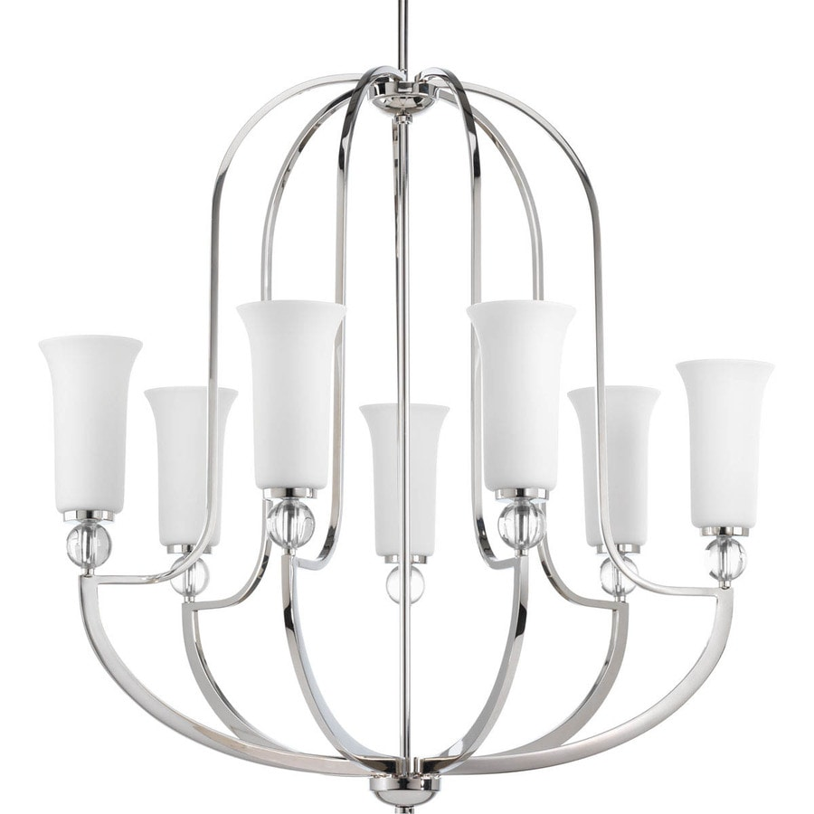 Progress Lighting Elina 32-in 7-Light Polished Nickel Etched Glass Shaded Chandelier