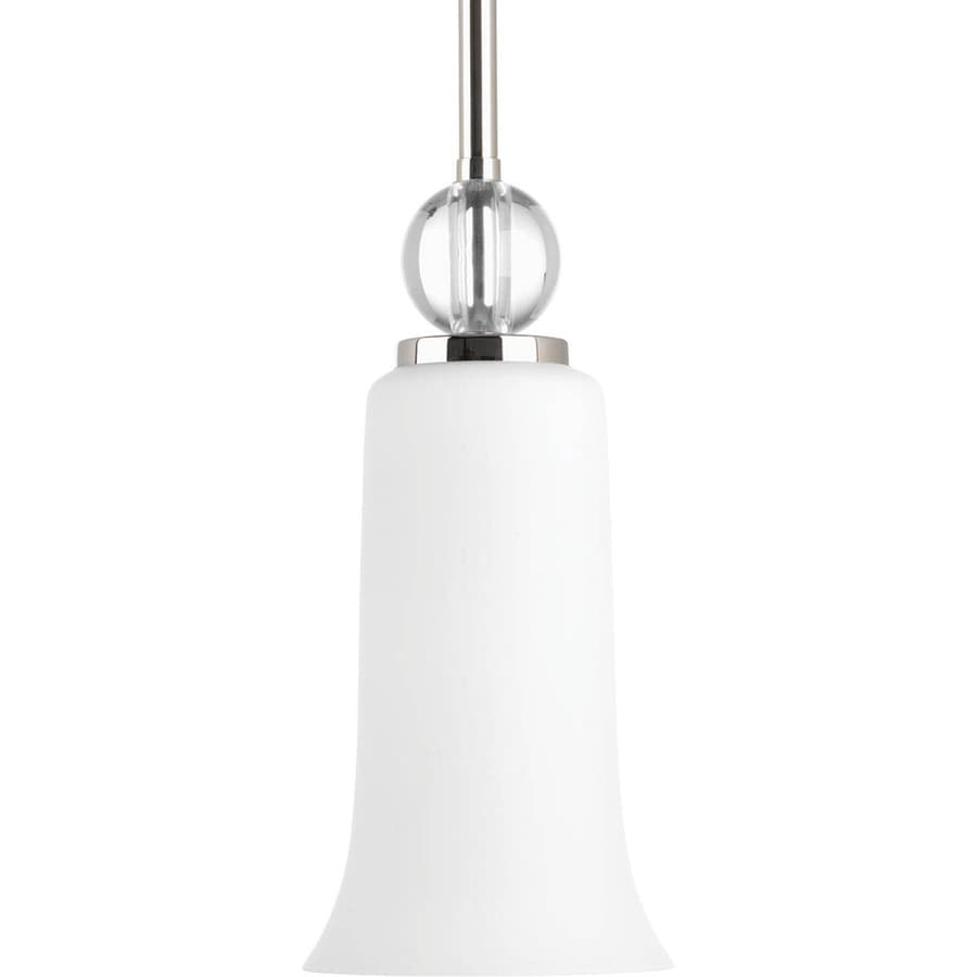 Progress Lighting Elina 4.375-in Polished Nickel Mini Etched Glass Bell Pendant