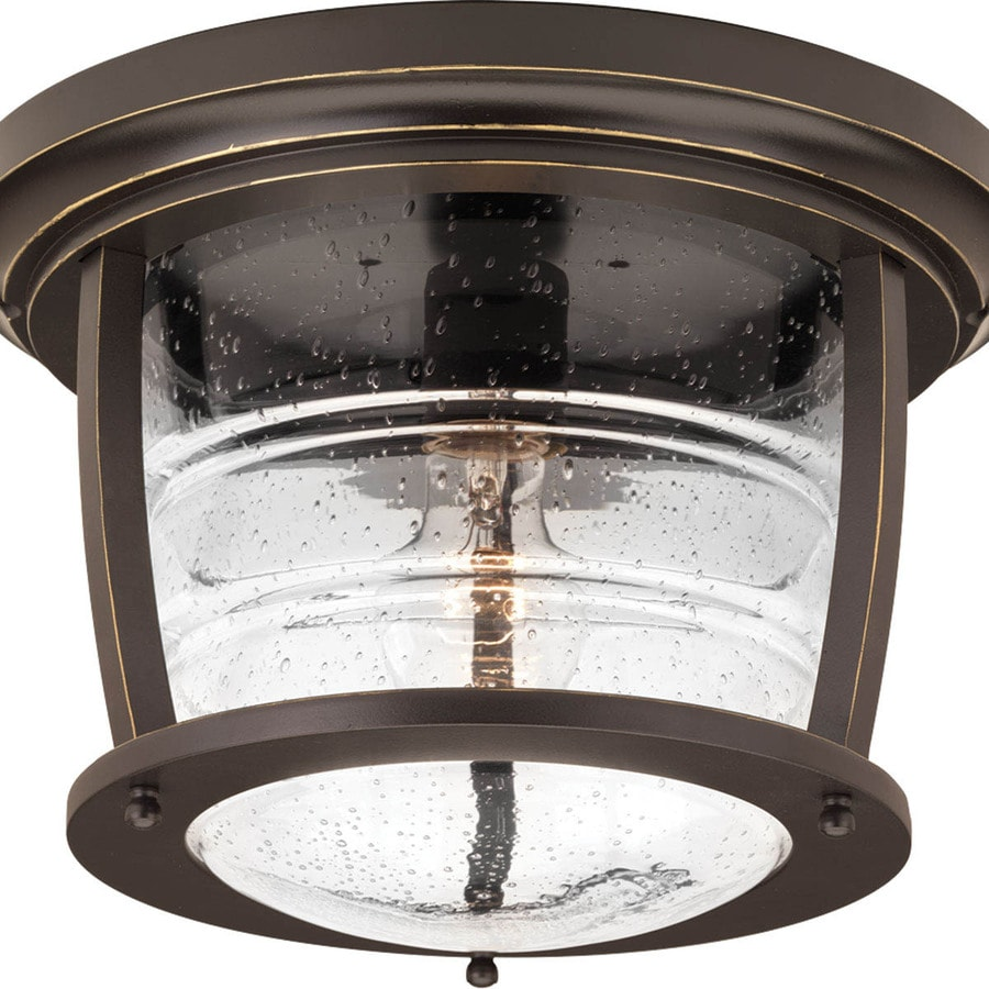 Progress Lighting Signal Bay 12-in W Oil Rubbed Bronze Outdoor Flush Mount Light