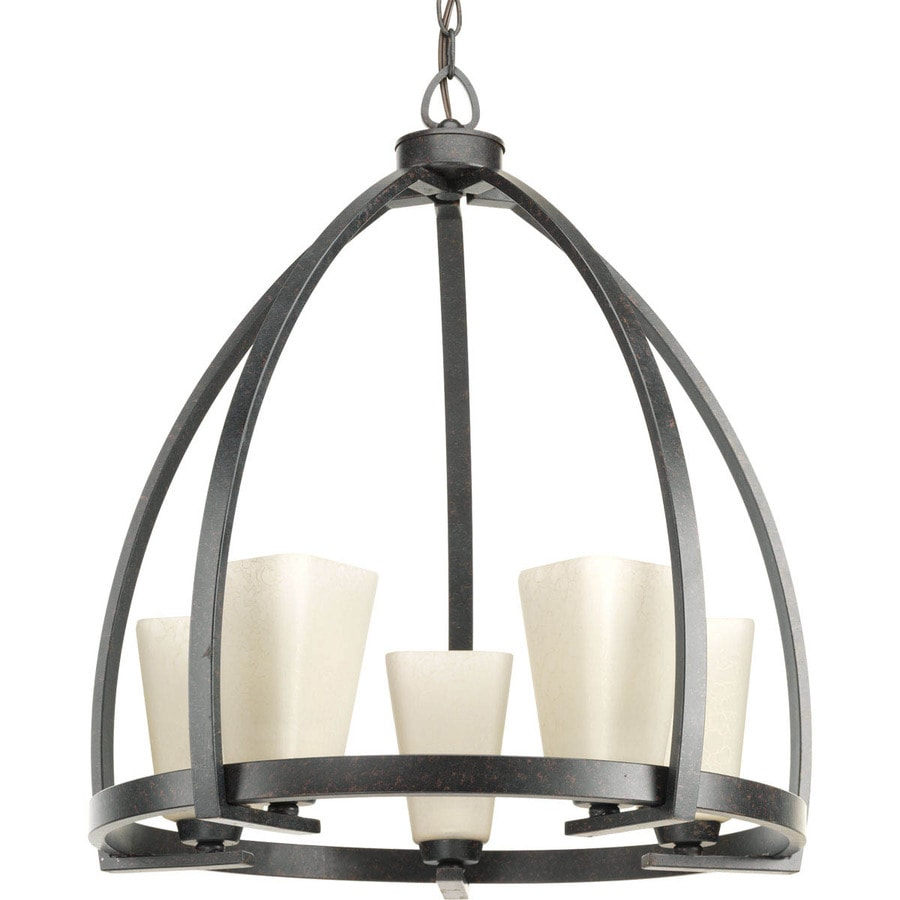Progress Lighting Ridge 22-in 5-Light Espresso Barn Tinted Glass Shaded Chandelier