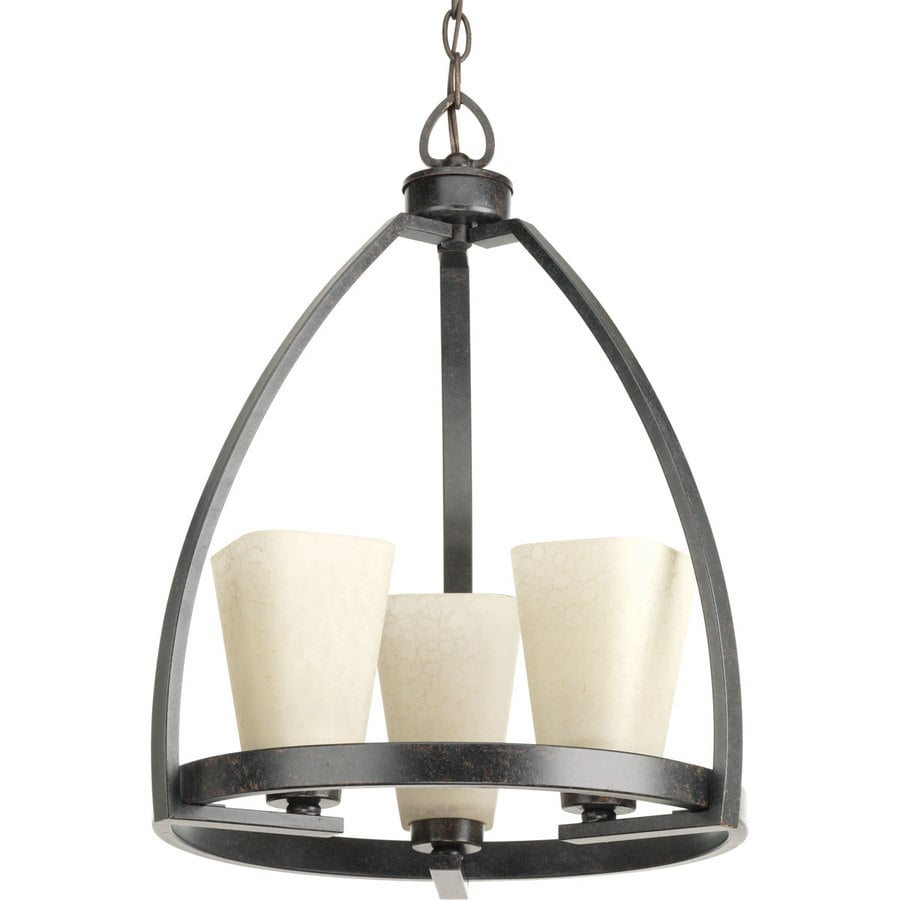 Progress Lighting Ridge 16-in 3-Light Espresso Barn Tinted Glass Shaded Chandelier