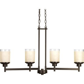 Progress Lighting Alexa 4-Light Antique Bronze Transitional Tinted Glass Shaded Chandelier