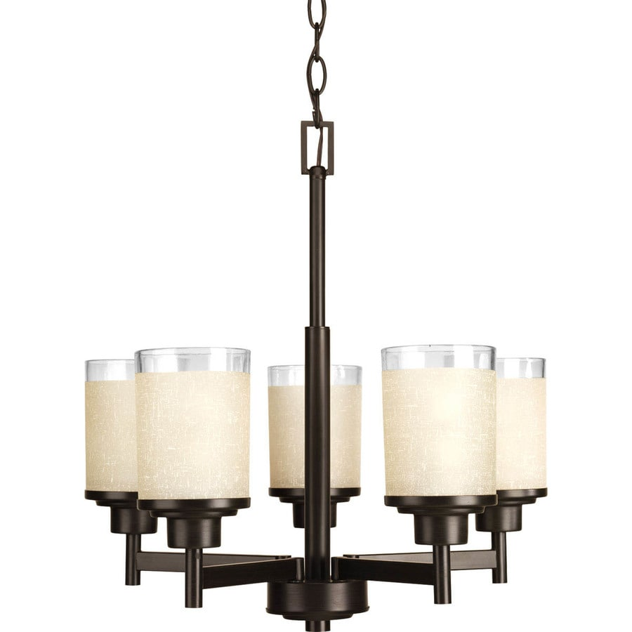 Progress Lighting Alexa 20-in 5-Light Antique Bronze Tinted Glass Shaded Chandelier