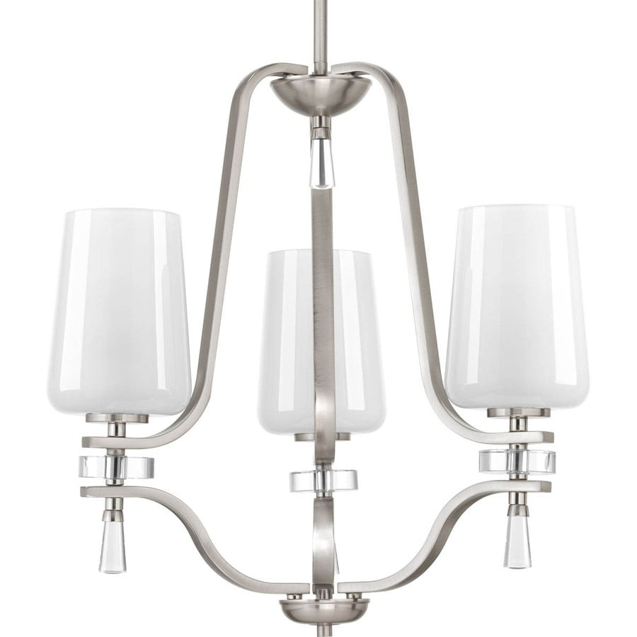Progress Lighting Indulge 20-in 3-Light Brushed Nickel Shaded Chandelier