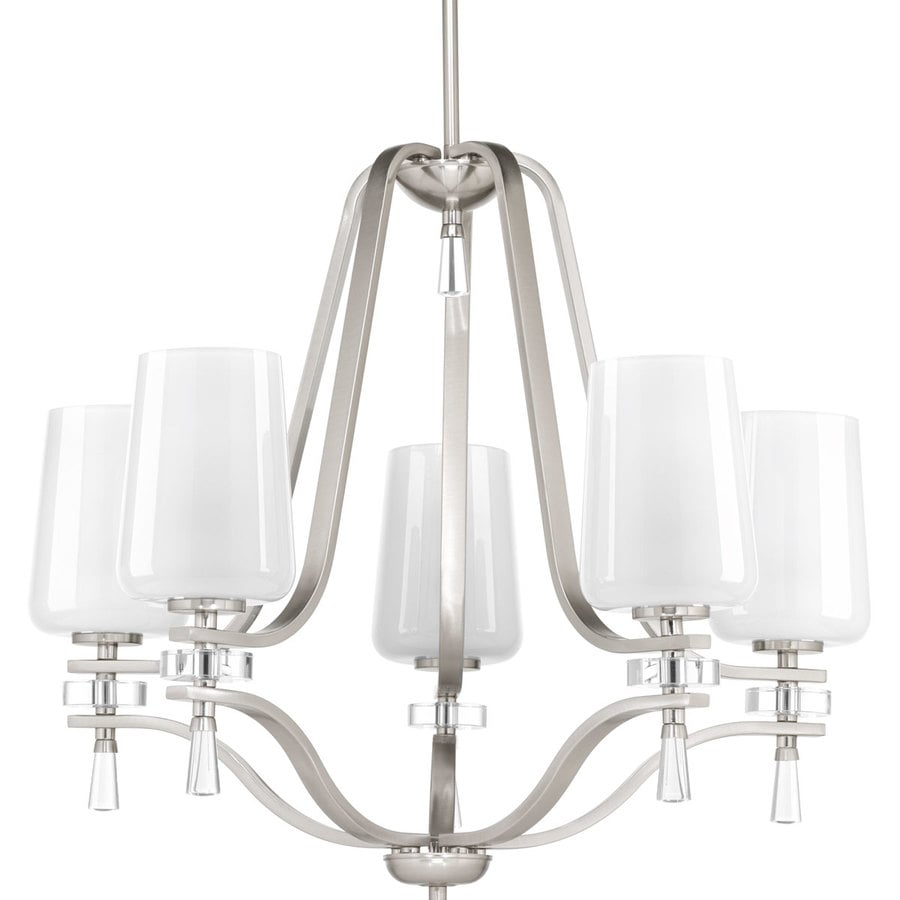 Progress Lighting Indulge 26-in 5-Light Brushed Nickel Shaded Chandelier