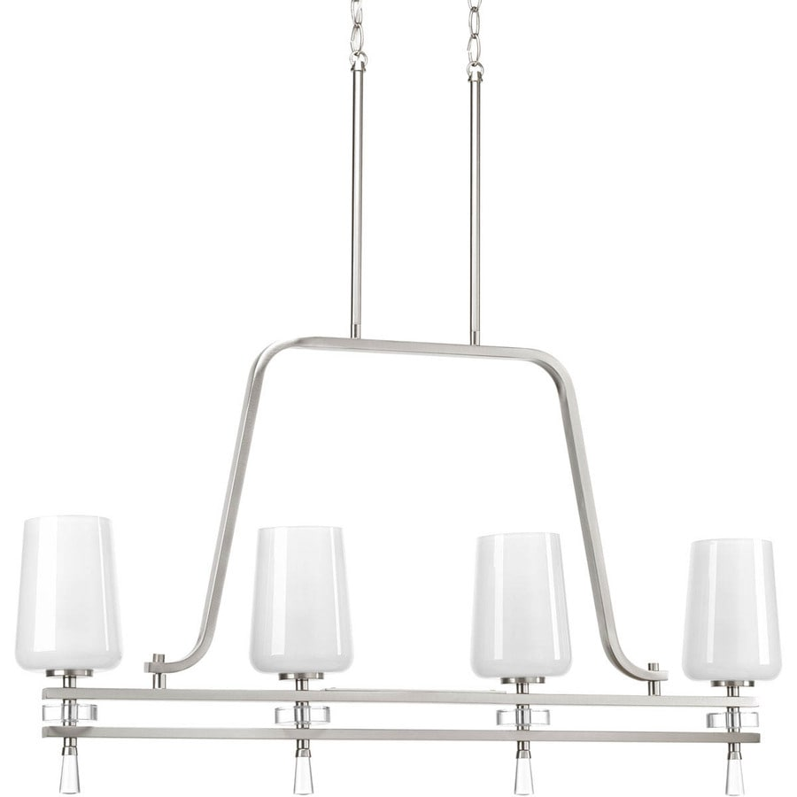 Progress Lighting Indulge 38-in 4-Light Brushed Nickel Shaded Chandelier