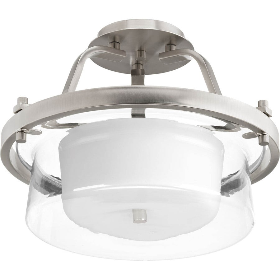 Progress Lighting Indulge 15-in W Brushed Nickel Etched Glass Semi-Flush Mount Light